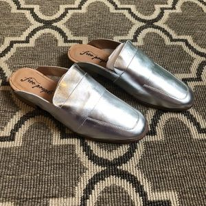 Free People At Ease Silver Metallic Slip On Mule